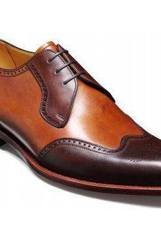 Men Brown Oxford Brogue Toe Wing Tip Classic Real Leather Handmade Shoes