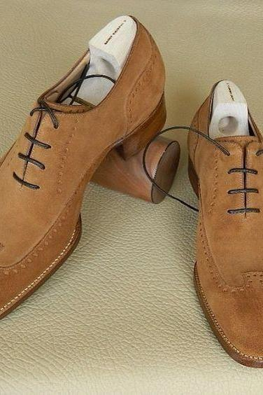 Camel Color Oxford Suede Brown Derby Wing Tip Customized Genuine Leather Handcrafted Men's Shoes