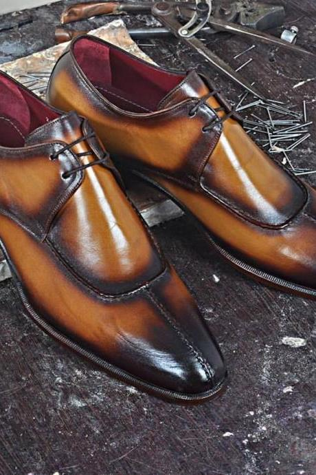 Made To Order Men's Two Tone Brown Burnished Apron Split Toe Handmade Genuine Leather Shoes