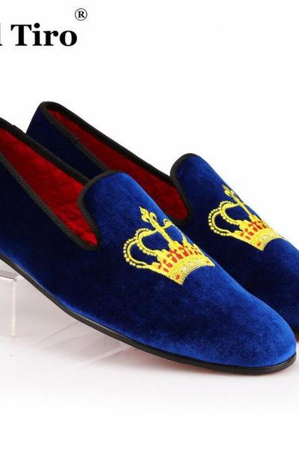 Men's Blue Velvet Embroidery Loafer Slippers Gold Crown Patches Party Wear Leather Shoes