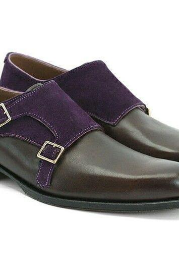 Purple Black Monks Double Buckle Strap Luxury Men's Genuine Leather Handmade Shoes