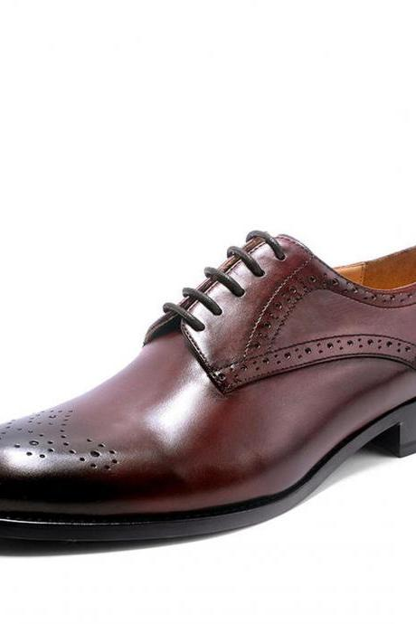 Men's Oxford Burgundy Burnished Brogue Toe Customized Real Leather Handmade Shoes