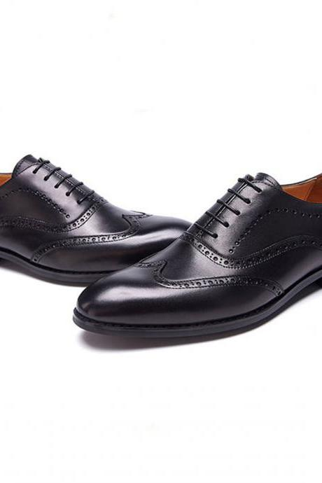 Black Oxford Derby Toe Wing Tip Genuine Leather Handmade Men's Shoes