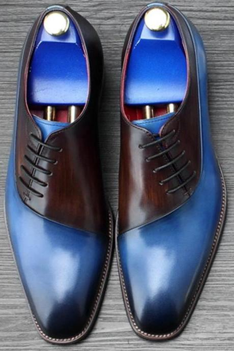 Two Tone Men's Oxford Blue Brown Derby Unique Customized Vintage Leather Shoes