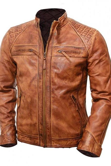 Customize Tan Brown Classic Design Zipper Pockets Perforated Men Premium Leather Jacket