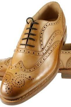 Perfect Tan Brown Medallion Wingtip,Lace Up Closure Balmoral Genuine Leather Shoes