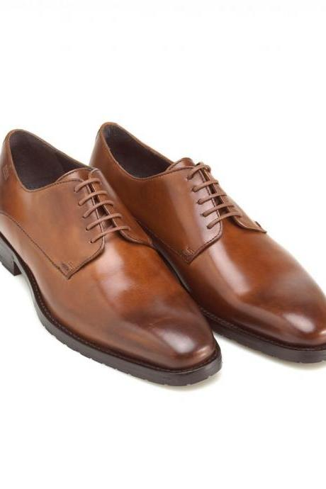 Superior Brown Patina Plain Toe Blucher Premium Leather Men Formal Dress Shoes