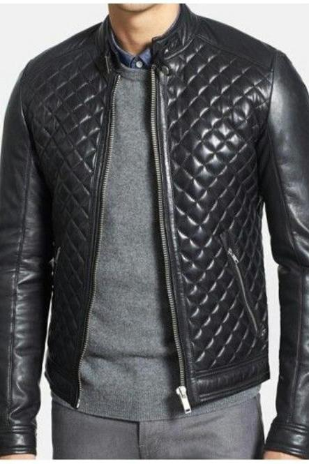 Bikers Black Quilted,Zipper Closure,Tab Collar Button Cuffs, Men Moto Leather Jacket
