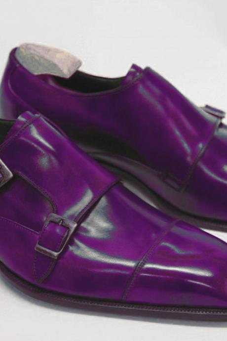 Business Scoot Seance Violet Monk Strap X 2 Square Cap Toe,Stable Leather Men Dress Shoes