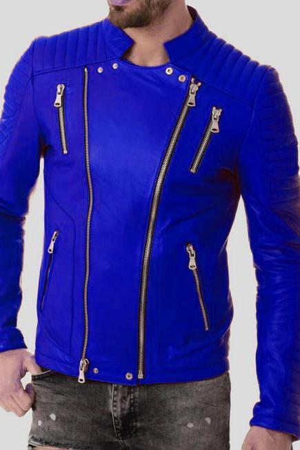Leather Atlantis Persian Blue Zipper Pockets And Closure,Quilted Design Genuine Leather Men Biker Jacket
