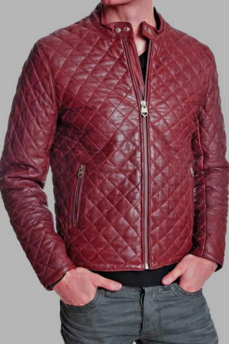 Jacket Array Cadillac Red Tab Collar,Quilted With Zipper Hand Pockets,Loose Cuffs Men Pure Leather Bomber Jacket