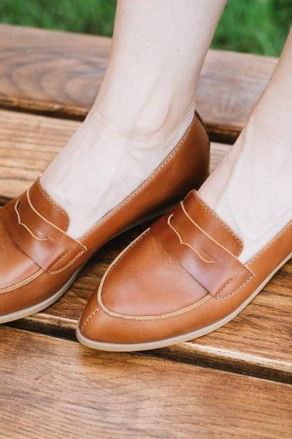 Handmade Tan Brown Penny Loafer Slip On Split Toe Premium Leather Women Formal Shoes
