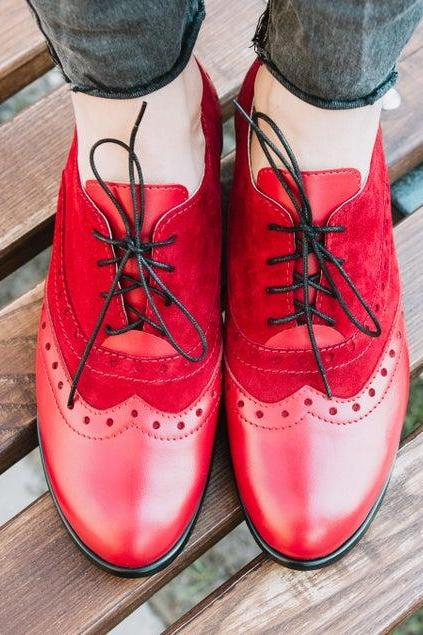 Perfect Kick Reddish Red Quarter Suede Lace Up Closure Real Leather Women Balmoral Shoes