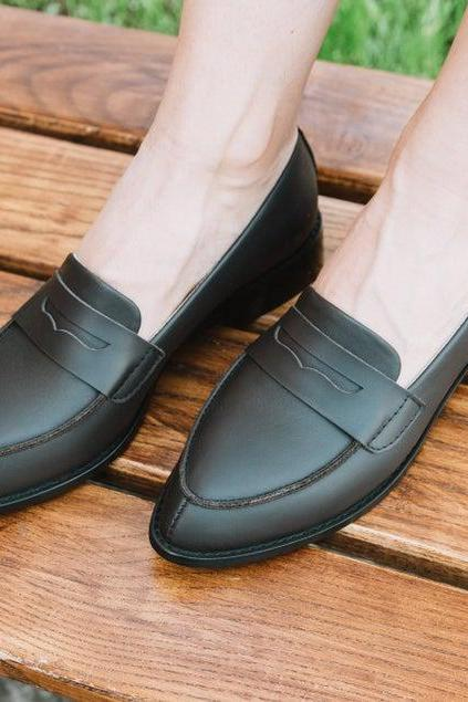 Customize Genuine Leather Penny Loafers In Black Color Good Looking Women Formal Shoes