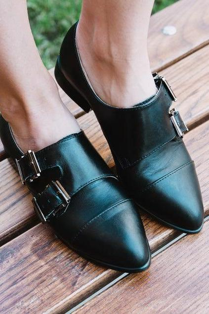 Customize Black Color Pointed Toe,Dual Monk Strap,Buckle Closure Real Leather Women Business Shoes