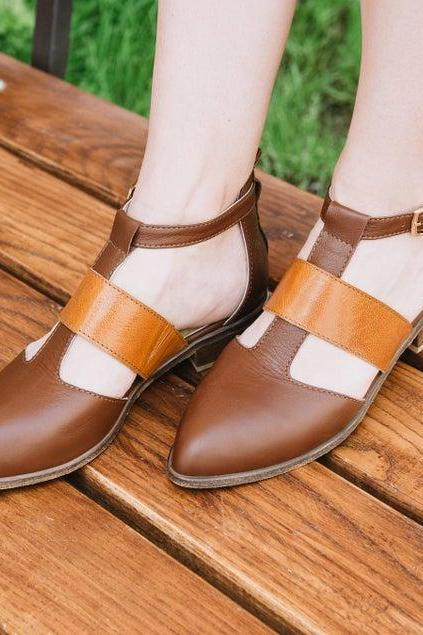 Tour Wear Alert Tan Brown Ankle Strap Pointy Toe Women Real Leather Formal Sandal