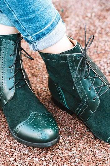 Bear Wear Cutty Sark Green Quarter Suede Vamp Medallion Wingtip Women Leather Long Boots