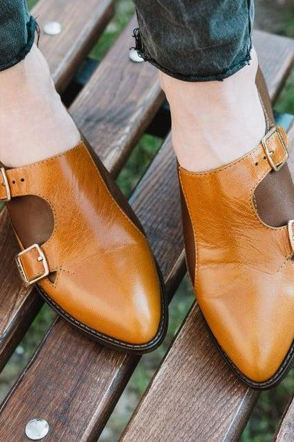 First Preference Whiskey Sour Orange Dual Buckle Two Tone Women Monk Leather Shoes