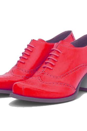 Wear-Porium Crimson Red Wingtip Design,Laces Closure Cuban Heel Genuine Leather Ladies Balmoral Party Shoes