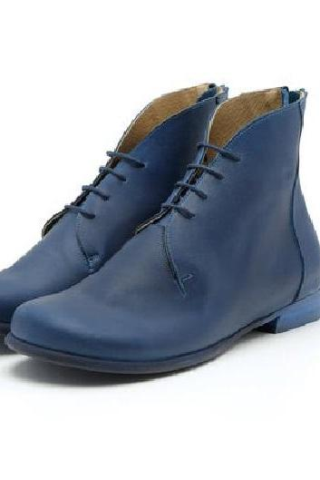 Foot-Fluent Madison Blue Plain Toe,Low Heel Back Stay Zip Nice Quality Leather Women Chukka Formal Ankle Boots