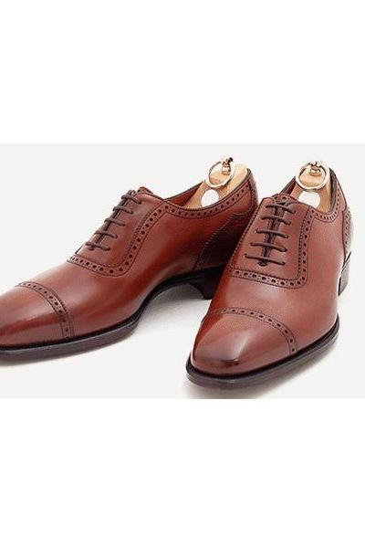Luxury Infallible Au-Chico Brown Patina Square Cap Toe Stitching Throat,Good Year Welted Sole, Balmoral Genuine Leather Formal Dress Shoes