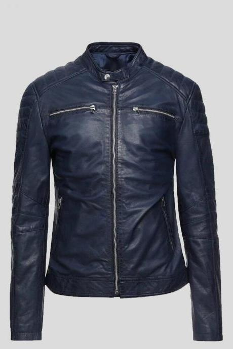 Bikers Terrific Night Blue Color Zipper Pockets Tab Collar Quilted Design Men Racer Leather Jacket