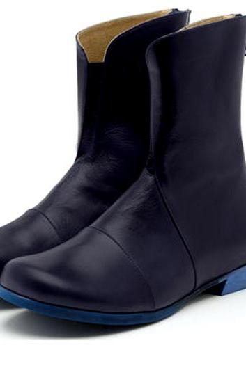 Leisure Foot-Wears Dark Blue Elastic Panel,Back Zip Real Leather Women High Ankle Boots