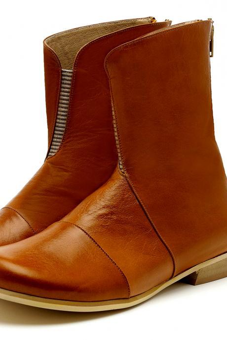 Figure Long Saddle Brown Back Zip Fastening Low Heel Real Leather Women High Ankle Boots