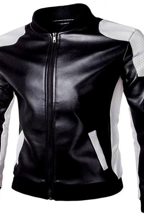 Alluring Black & White Perforated Shoulders,Elastic Collar,Waist And Cuffs Genuine Leather Men Racer Jacket