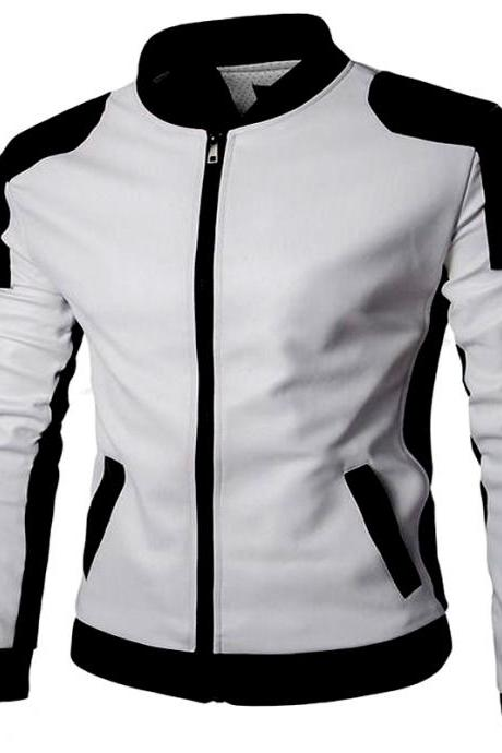 Racers Wears In Black & White Perforated Design Elastic Cuff & Collar Premium Leather Jacket