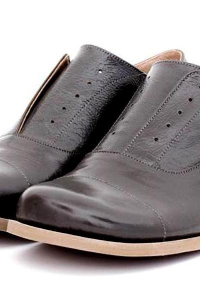 Friendly Dark Grey Round Cap Toe Contrast Sole Oxford Premium Leather Women Shoes