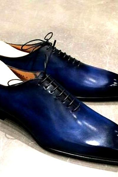 Crowning Wears In Venice Blue Patina Pointed Toe Wholecut Oxford Premium Leather Wedding Shoes