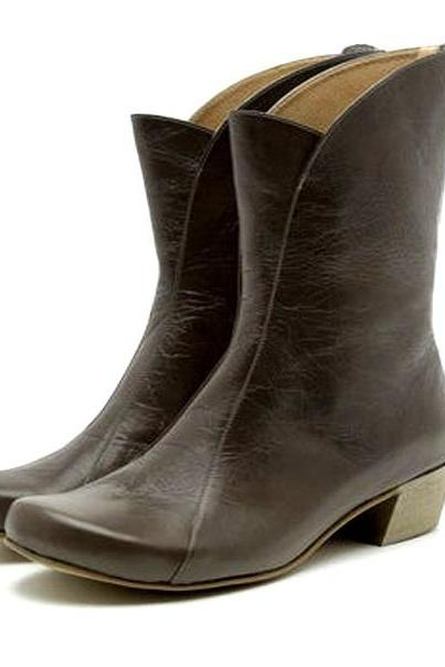 Superb Seal Brown Cuban Heel Back Zip Closure Smooth Pure Leather Women Long Ankle Boots