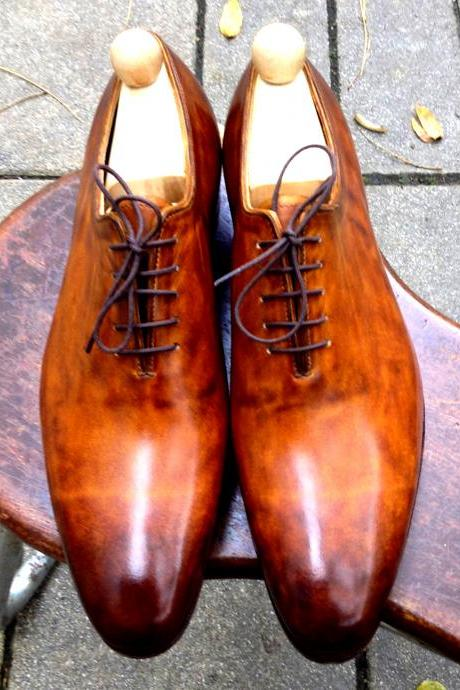 Evident Foots Tawny Orange Patina Wholecut Shape Balmoral Bona Fide Leather Men Wedding Shoes