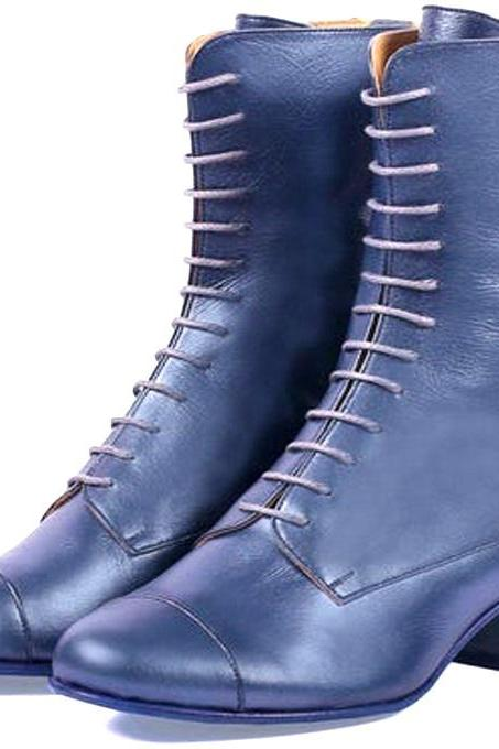 Customize Handmade Chambray Blue Cuban Heel Zipper At Back Pure Leather Women High Ankle Boots