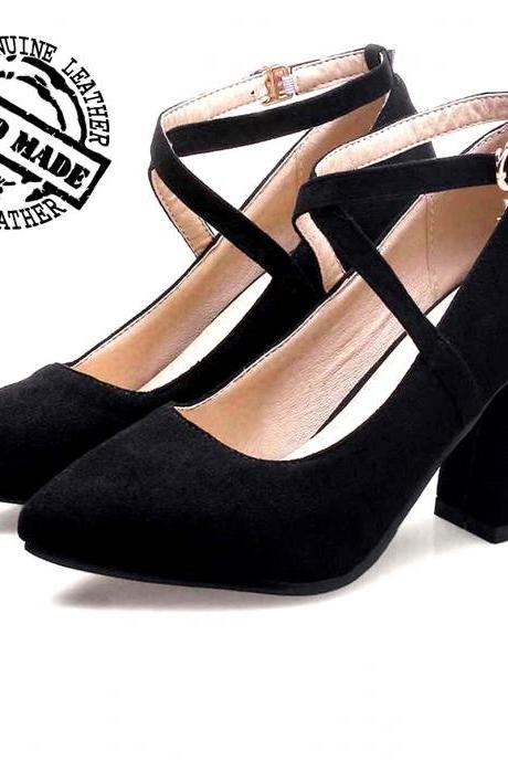 Duke Pairs Black Color Stylish X Shape Ankle Strap Medium Heel Original Leather Women Formal Pump Shoes