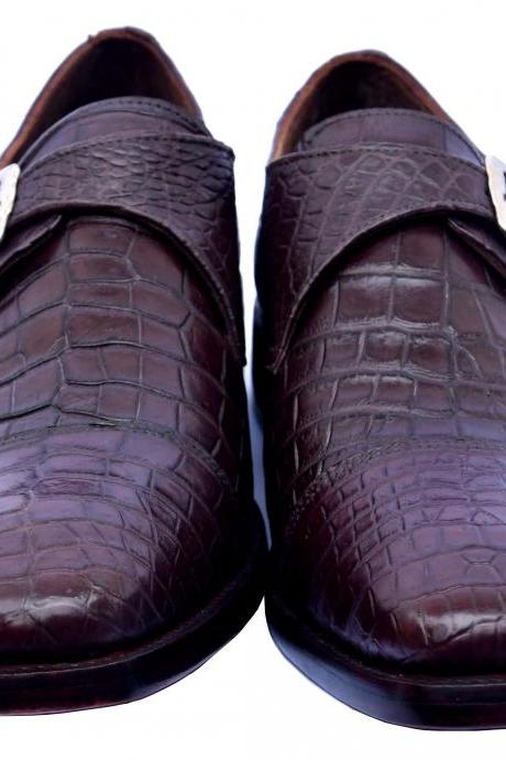 Royal Tawny Port Single Monk Strap Genuine Crocodile Leather Men Formal Shoes