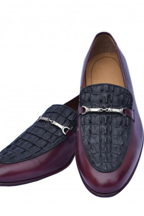 Luxury Maroon Bit Loafer Black Horn-Back Real Crocodile Leather Vamp Dress Shoes