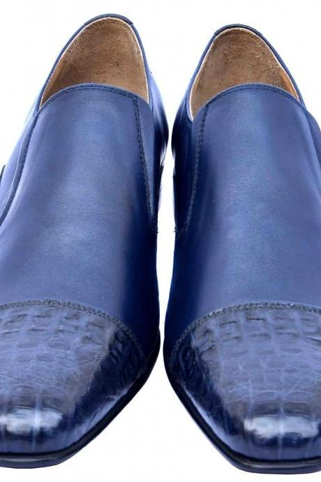 Astute San Marino Blue Elasticated Gores Premium Crocodile Leather Cap Toe Men Slip On Wedding Shoes