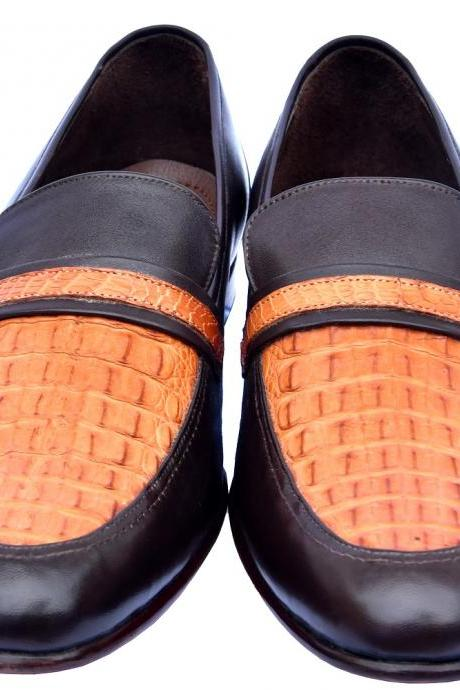 Special Foot-Wear Chocolate Brown & Crusta Orange Crocodile Leather Moc Toe Wedding Shoes