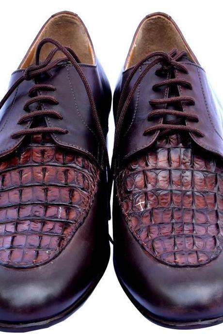 Fashion Finds Falcon Brown Crocodile Leather Vamp Derby Formal Shoes For Men