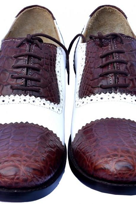 Official Wears Two Tone White And Brown Bona Fide Crocodile Leather Men Oxford Formal Dress Shoes