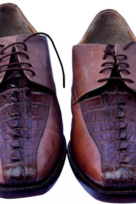 Made By Hand Opium Brown Color Horn Back Tail On Vamp Genuine Crocodile Leather Men Formal Dress Shoes