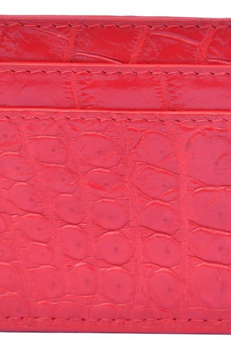 Classic Alizarin Red Five Card Slots Pure Crocodile Leather New Card Wallet