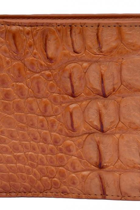 Gorgeous Crocodile Tawny Brown Horn Back Card Slots Real Leather Wallet