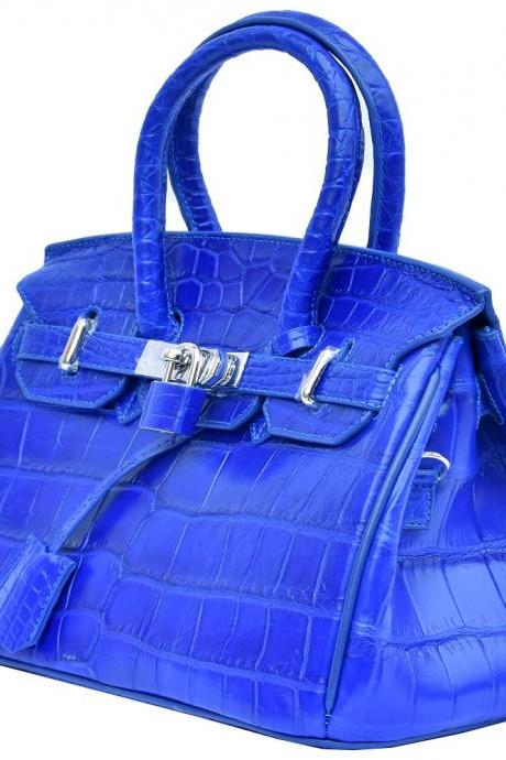 Lovely Blue Key Locker Genuine Crocodile Leather Women Belly Satchels Hand Bag