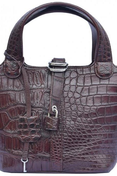 Nice Quality Chocolate Brown Classic Style Real Crocodile Leather Totes Hand Bag