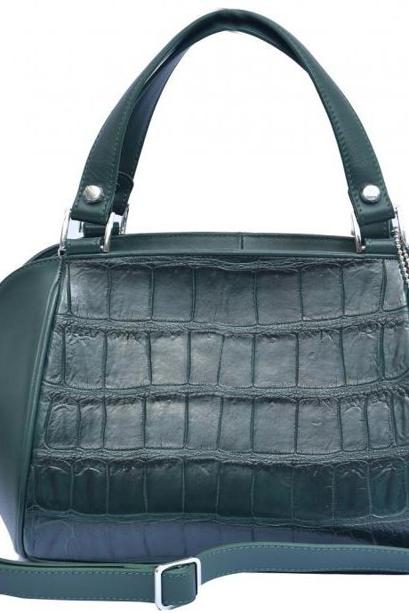 Innovative Forest Green Zipper Fastening Pure Crocodile Belly Leather Hand Bag