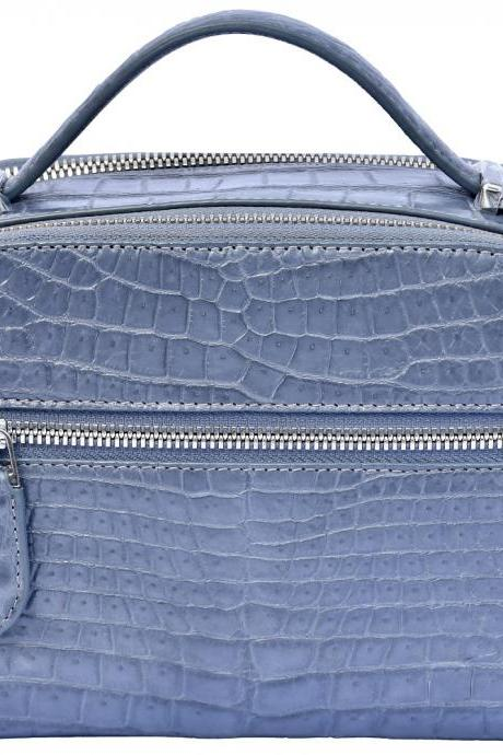 Captivating Slate Grey Stylish Shape Genuine Crocodile Belly Leather Hand Bag