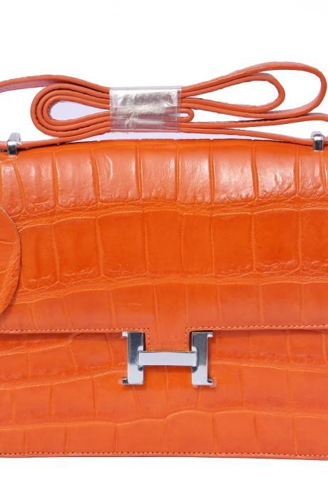 Classy Style Carrot Orange Hook Closure Real Crocodile Leather Ladies Hand Bag